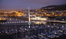 Image of Swansea Marina at night