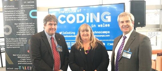 Professor Faron Moller, Julie James AM and James Davies at the IoC Wales Launch
